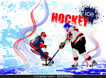 Ice hockey players stock vector clipart, Ice hockey players. Colored Vector illustration for designers. poster by Leonid Dorfman
