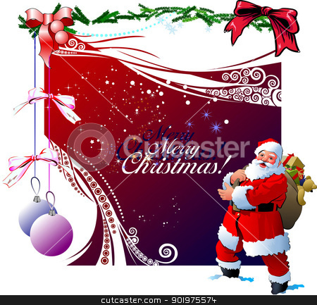 Christmas - New Year shine stock vector clipart, Christmas - New Year shine card with golden balls and Santa and New year tree images. vector by Leonid Dorfman