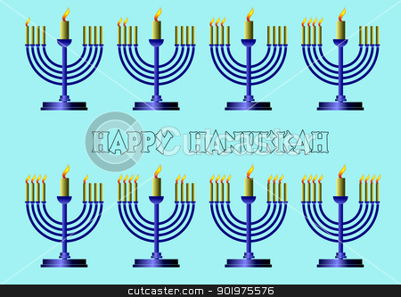 Hanukkah Symbols. Vector colored illustration  stock vector clipart, Hanukkah Symbols. Vector colored illustration  by Leonid Dorfman