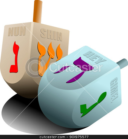 Dreidel  as element of Hanukkah festival. Vector stock vector clipart, Dreidel  as element of Hanukkah festival. Vector by Leonid Dorfman