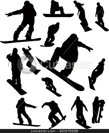 Snowboarder man silhouette set for design use stock vector clipart, Snowboarder man silhouette set for design use by Leonid Dorfman
