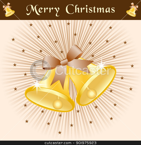 Christmas bells on brown sunburst stock vector clipart, Christmas bells in gold with bows on a brown and beige sunburst background decorated with stars. by toots77