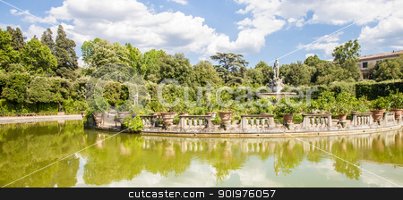 Boboli Gardens stock photo, Florence, Italy. Old Boboli Gardens during a sunny day in summer season by Perseomedusa