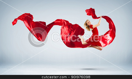 Modern style dancer posing stock photo, Portrait of a dancing young woman with red fabric by Sergey Nivens