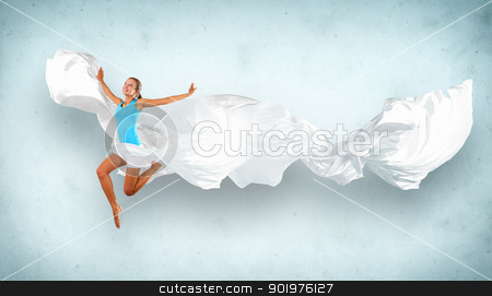 Modern style dancer posing stock photo, Portrait of a dancing young woman with white fabric by Sergey Nivens