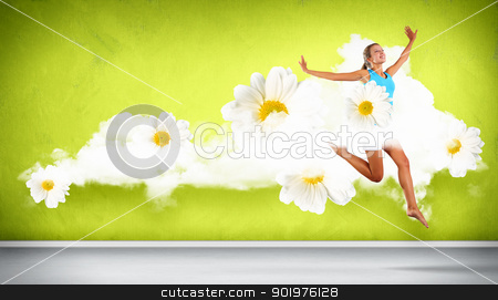 Modern style dancer posing stock photo, Beautiful young female dancer with white and yellow camomiles around her by Sergey Nivens