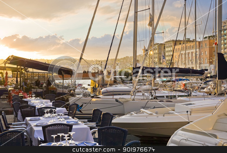 Naples at sunset stock photo, Beautiful restaurant in the port of Naples at sunset, Italy by Alexey Popov