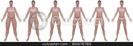 Weight Loss Progress Front View stock photo, A front view illustration of a obese woman's weight loss progress in a series of six renders. Isolated on a solid white background. by Randall Reed