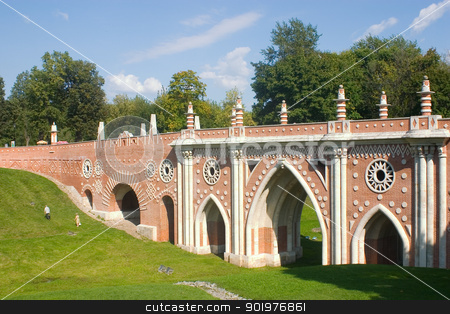 Bridge in Tsaritsyno stock photo, Park Tsaritsyno in Moscow. Big bridge by Viacheslav Belyaev