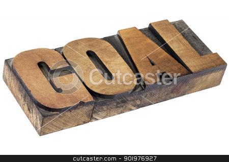 goal word in letterpress wood type stock photo, goal - isolated word in vintage letterpress wood type by Marek Uliasz