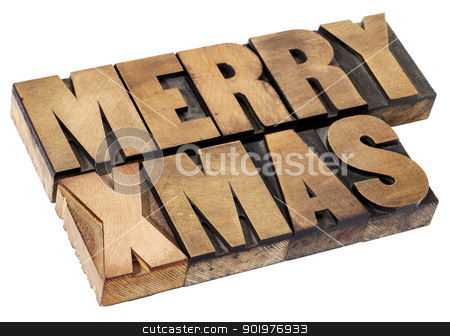 Merry Christmas in wood type stock photo, Merry Christmas  (Xmas) - isolated text in vintage letterpress wood type by Marek Uliasz