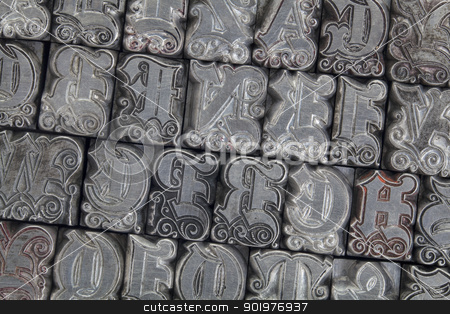 ornamental metal letterpress type stock photo, random alphabet letters in ornamental metal letterpress type - initials font by Marek Uliasz