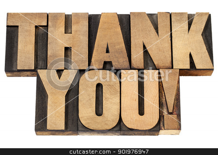 thank you in letterpress wood type stock photo, thank you  exclamation - isolated text in vintage letterpress wood type by Marek Uliasz