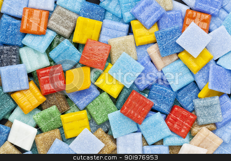 colorful glass mosaic tiles stock photo, random background of colorful   glass mosaic tiles with a dominant blue color by Marek Uliasz
