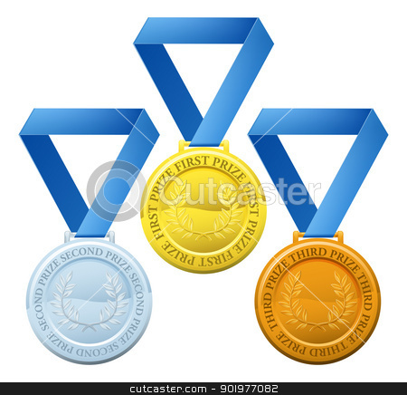 Prize medals stock vector clipart, Illustration of three winners sports style medals for first second and third prize by Christos Georghiou