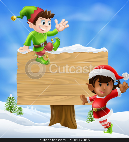 Christmas Elves and Sign stock vector clipart, Seasonal cartoon of two Christmas elves and a sign in the snow with Christmas trees in the background. by Christos Georghiou