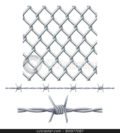 Seamless tiling fence and barbed wire stock vector clipart, A seamless tiling diamond chainlink fence tile and barbed wire seamless tillable section by Christos Georghiou