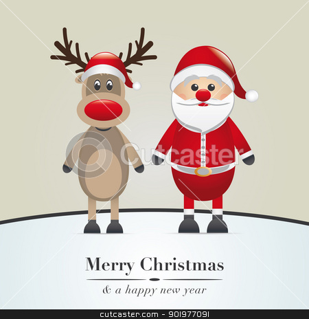 reindeer and santa claus stock photo, reindeer red nose and santa claus hat by d3images