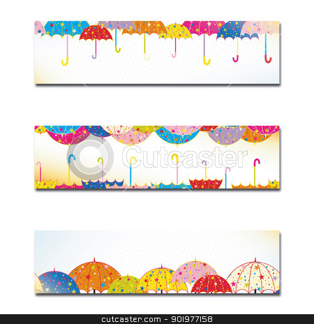 Set of Colorful Umbrella Autumn Rain Banner stock vector clipart, Set of Colorful Umbrella Autumn Rain Banner or Web Header by meikis