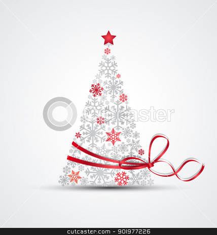 Christmas tree stock vector clipart, Christmas tree made from snowflakes with ribbon by Miroslava Hlavacova