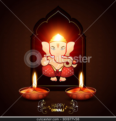 indian god ganesh stock vector clipart, indian god ganesha on beautiful background by pinnacleanimates