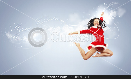 portrait of pretty snowgirl stock photo, Happy smiling woman in red xmas costume jumping high by Sergey Nivens
