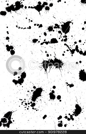 black drop ink splatter splash stock photo, Black drop ink splatter. Gloss brush paint spot, grunge blot, art blob, oil, abstract droplet. Splat, liquid illustration. by Sergey Nivens