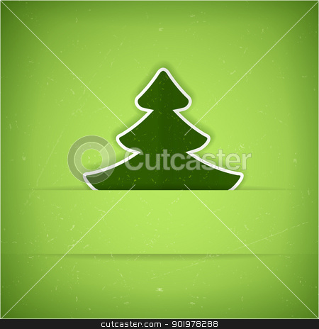 Green Christmas tree card stock vector clipart, Christmas tree applique vector background. A slight texture gives it an aged paper feeling.Space for your text. by Ina Wendrock