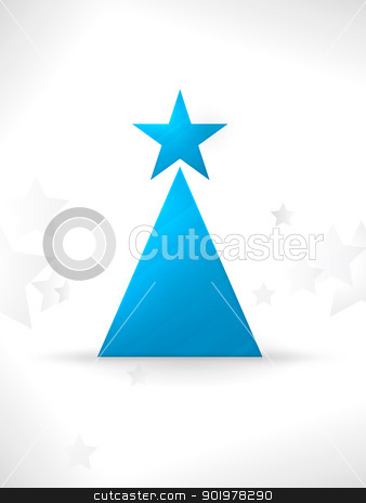 Modern stylized and minimalistic Christmas tree vector background stock vector clipart, The simple geometric shapes star and triangle form a modern, stylized Christmas tree with a smooth and slightly textured surface and a unobtrusive star pattern in the background. by Ina Wendrock