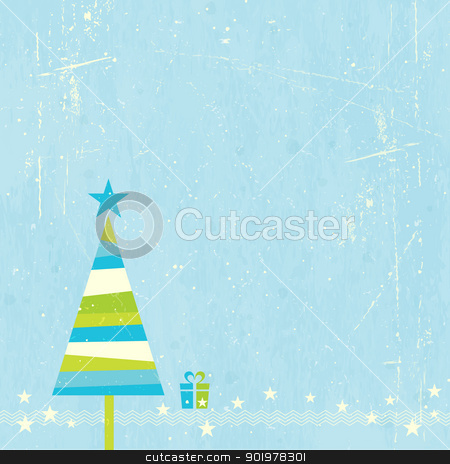 Christmas tree with present stock vector clipart, Green, blue and off-white striped Christmas tree with present and star border on blue grunge background. by Ina Wendrock