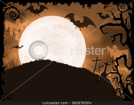 Spooky orange Halloween night stock vector clipart, Halloween background with full moon, bats, ghosts, crosses and grunge elements. by Ina Wendrock