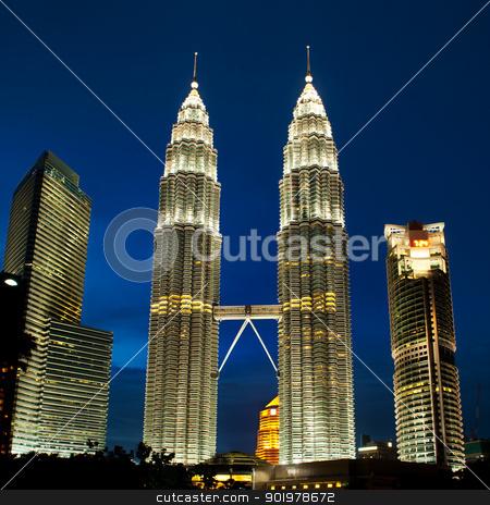 Cityscape of Kuala Lumpur, Malaysia with Petronas towers. stock photo, Cityscape of Kuala Lumpur, Malaysia. Petronas twin towers at KLCC. by Pablo Caridad