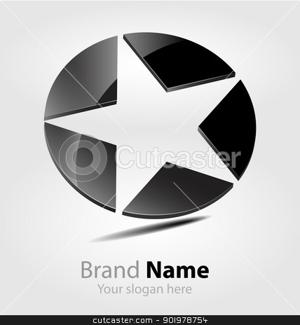 Black star brand logo/logotype stock vector clipart, Originally designed black star brand logo/logotype by Vladimir Repka