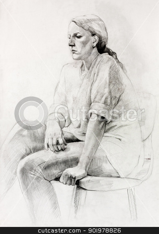 Woman sitting sketch stock photo,  Original pencil  or drawing charcoal, and  hand drawn painting or  working  sketch of a woman sitting in a chair.Free composition by borojoint