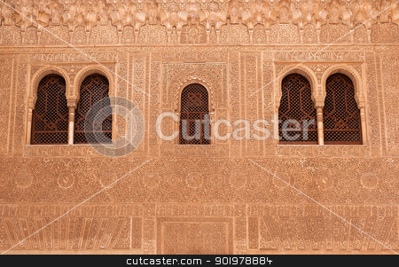 facade details stock photo, facade details in La Alhambra palace, in granada (spain) by Camilo