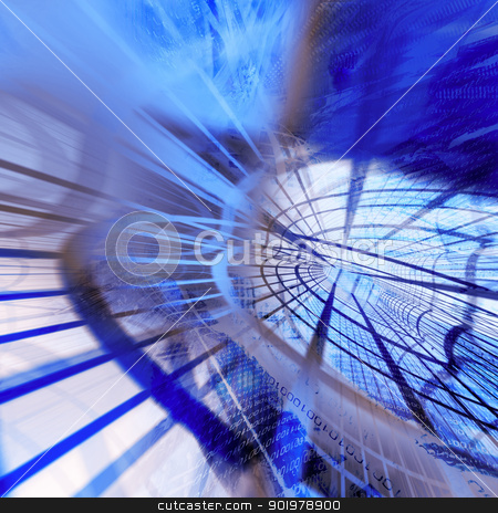 Blue abstract illustration stock photo, Blue abstract illustration - sci fi concept by pcooklin