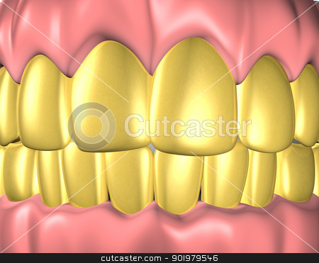gold teeth stock photo, 3d image of teeth with gold teeth by carloscastilla