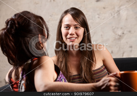 Two Pretty Ladies Talking stock photo, Smiling woman talking with a friend sitting indoors talking by Scott Griessel