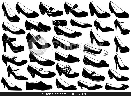 Shoes illustration set stock vector clipart, Shoes illustration set isolated on white by Ioana Martalogu