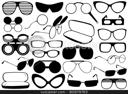 Different eyeglasses stock vector clipart, Different eyeglasses isolated on white by Ioana Martalogu