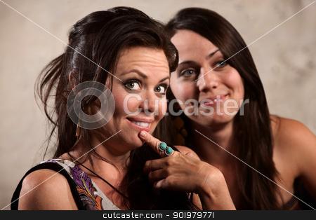 Admiring Women stock photo, Beautiful Caucasian brunette and friend admiring something by Scott Griessel