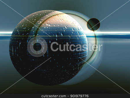 Planet and its satellite stock photo, 3d render of abstract planet and its natural satellite by pcooklin