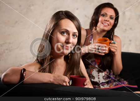 Smiling Ladies on Sofa with Mugs stock photo, Smiling pair of women with cups smiling by Scott Griessel