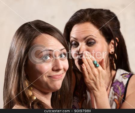 Women Sharing Secrets stock photo, Caucasian brunette female listening to friend whispering by Scott Griessel