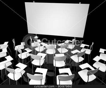 Empty black classroom stock photo, Empty black classroom with white school chairs by carloscastilla
