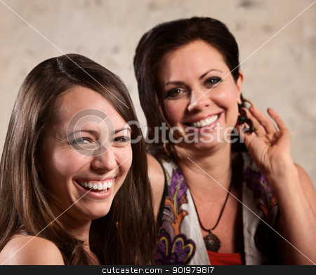 Two Happy Women stock photo, Two happy European females next to each other laughing by Scott Griessel