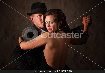 Passionate Tango Duo stock photo, Passionate Caucasian tango partners in 1920s style outfit by Scott Griessel