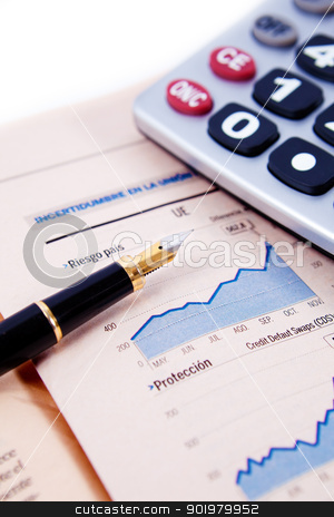 financial objets background stock photo, Close up image of graphs and statistics with pen and calculator by carloscastilla