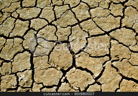 Cracked soil  stock photo, Close up image of cracked soil of a lake by carloscastilla