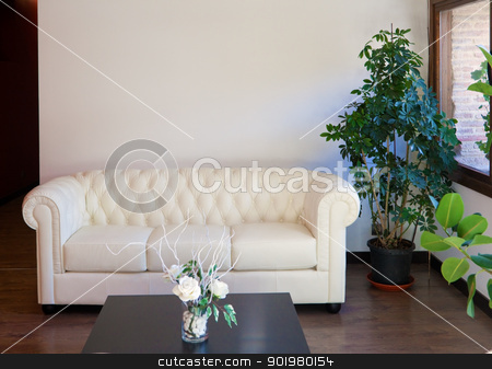 Interior architecture stock photo, Modern interior design with white vintage sofa by carloscastilla